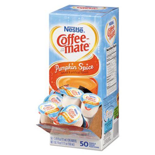 Bon Coffee Mate Liquid Creamer Mini Cups, Pumpkin Spice, 50 Creamers (NES75520)