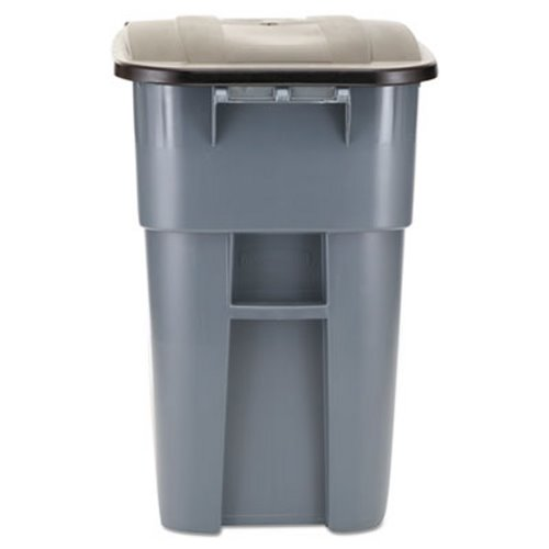rubbermaid 9w27 brute 50 gallon rollout trash can with lid gray rcp9w27gy - Rubbermaid Trash Cans