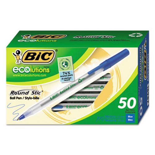 Bic Ecolutions Round Stic Ballpoint Pen BICGSME509BE