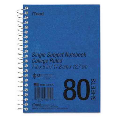 mead spiral bound 1 subject notebook college rule 5 x 7 white 80