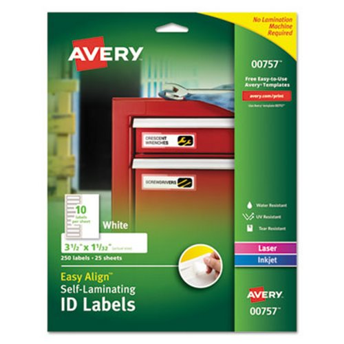 Avery 00757 Easy Align Self Laminating Labels 250 Labels Ave00757