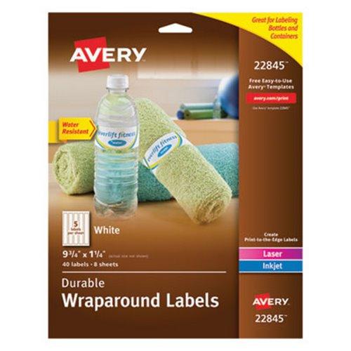 avery durable wraparound printer labels 9 3 4 x 1 1 4 white 40