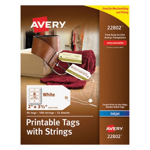 avery blank printer compatible tags with strings 2 x 3 1 2 white