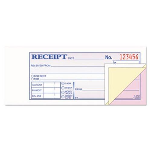 adams business forms receipt book 2 3 4 x 7 3 16 three part