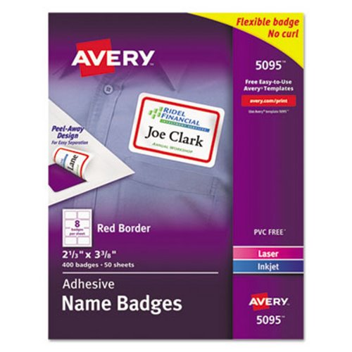 avery adhesive name badge labels red border 400 labels ave5095
