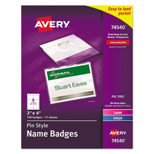 Avery Clip Style Name Badges 3 X 4 100 Badges Ave74540