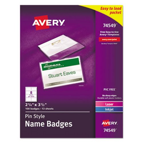 avery pin style badge holders with inserts 100 holders ave74549