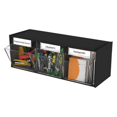 Deflect O Tilt Bin Plastic Storage System 3 Bins Black Def20304op