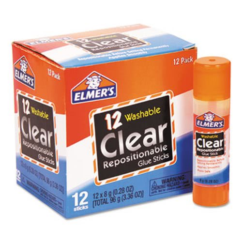 Elmer's School Glue Stick, Clear, 8 g, 12 Glue Sticks (EPIE4064)