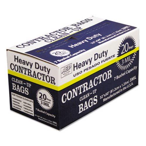 60 Gallon Black Contractor Garbage Bags 32x50 3mil 20 Wbi186470