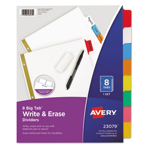 avery big tab write on dividers w erasable laminated tabs clear