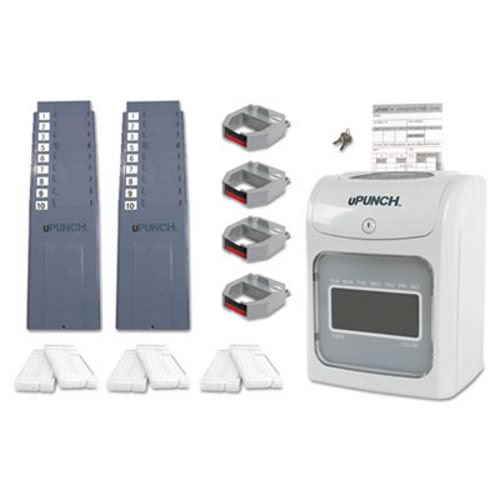 upunch hn4600 autoalign electronic calculating time clock gray ppzhn4600 - Upunch Time Cards