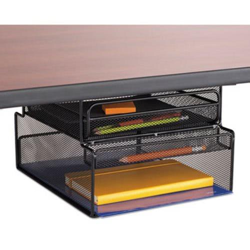 Onyx Hanging Organizer W/Drawer, Under Desk Mount, Black (SAF3244BL)