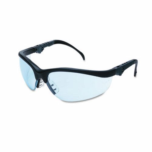 4340e3e90008 Crews Klondike Plus Safety Glasses, Black Frame, Light Blue Lens CRWKD313