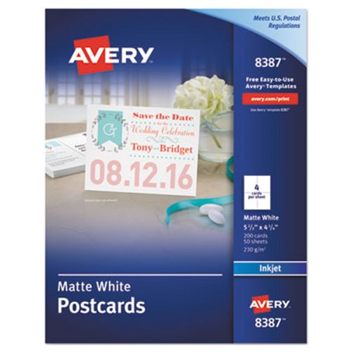 avery inkjet compatible postcards 5 1 2 x 4 1 4 four per sheet