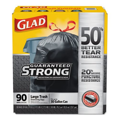 Glad 30 Gallon Drawstring Garbage Bags 90 Clo78952