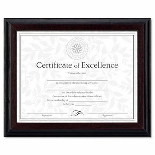 Dax Solid Wood Award/Certificate Frame, 8-1/2 x 11, Black w/Walnut ...
