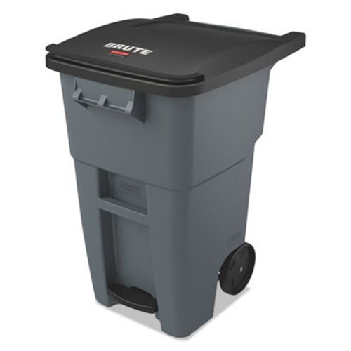 Rubbermaid Brute 50 Gallon Rollout Trash Can Gray Rcp1971956