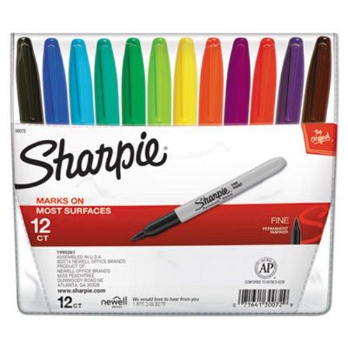 Sharpie Permanent Markers Fine Point Assorted 12 Set San30072