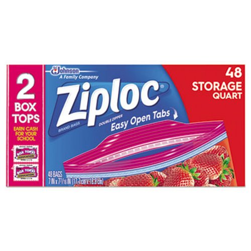 SJN665015BX 50 Bags Ziploc Double Zipper 1 Quart Food Storage Bags