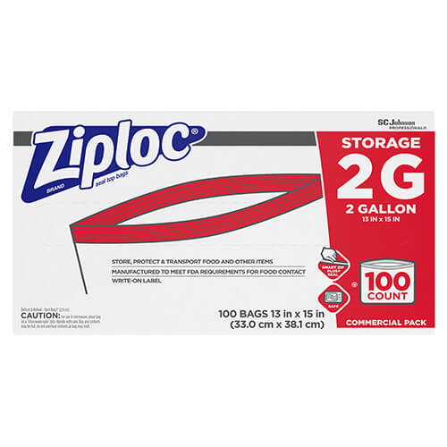 Ziploc 2 Gallon Double Zipper Food Storage Bags 100 Sjn682253