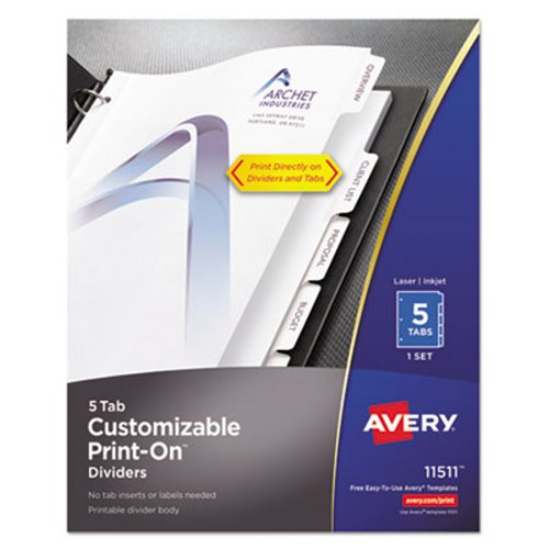 Avery Print On Dividers 5 Tab 3 Hole Punched 8 12 X 11 White 1