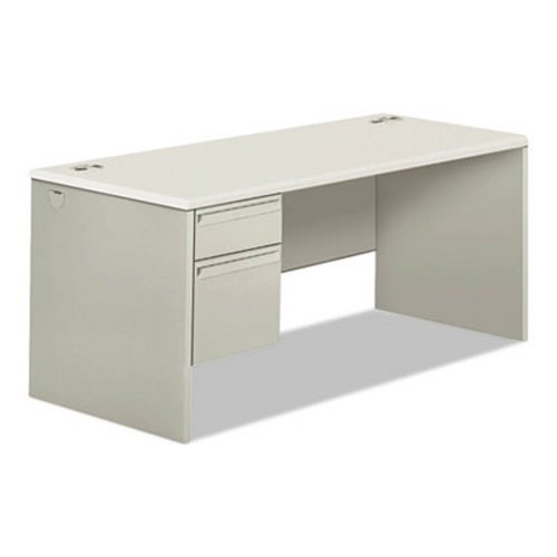 Hon 38000 Series Single Pedestal Desk 66 Wide Right Silver Mesh Light Gray Hon38291rb9q