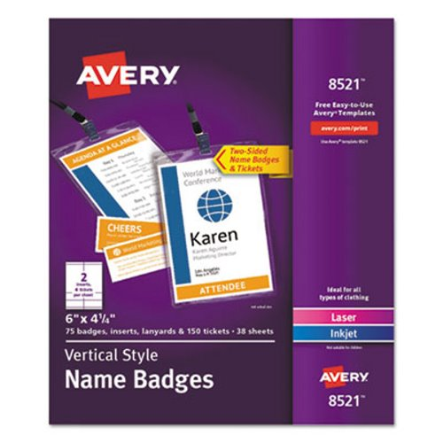 Avery Lanyard Style Name Badge Holders W Inserts Top Load 4 1 X 6 White 75 PK AVE8521