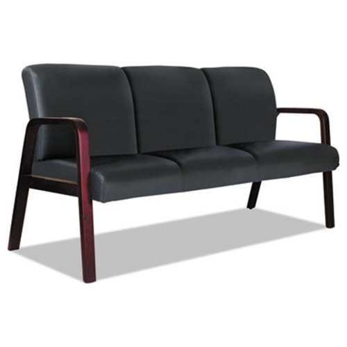 Alera Reception Lounge WL 3-Seat Sofa, Black/Mahogany (ALERL2319M)