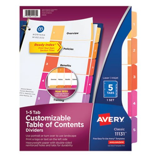 Multi AVE11131 1-5 Avery Ready Index Contemporary Table of Contents Divider