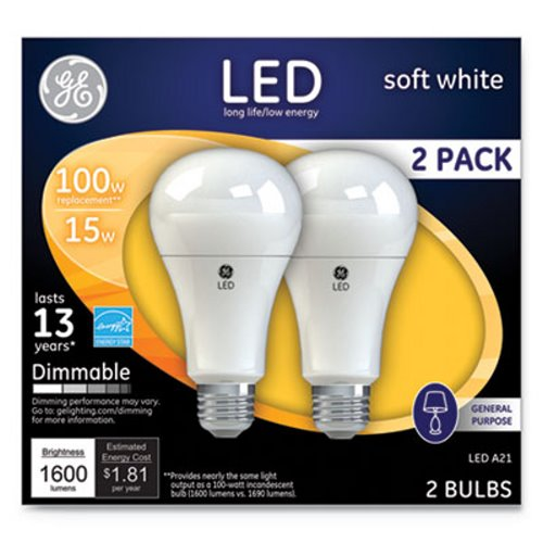 Ge Led Soft White A21 Dimmable Light Bulb 15w 2 Pack Gel65941