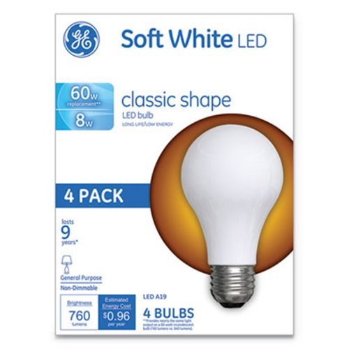 Ge Classic Led Soft White Non Dim A19 Light Bulb 8w 4 Pack Gel99190