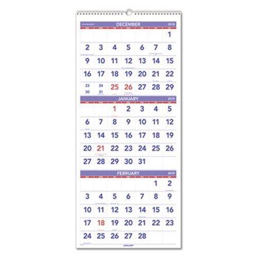 At A Glance Vertical Format Three Month Wall Calendar Aagpm1128