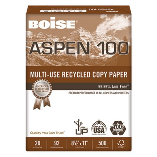 Boise ASPEN Recycled Office Paper 92 Bright White 5000 Per Carton CAS054922