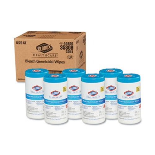 Clorox Germicidal Healthcare Bleach Wipes, 6 Canisters (CLO35309CT)