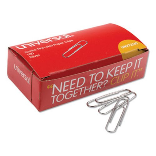 Silver 100//Box Wire x 2 Jumbo Nonskid Paper Clips