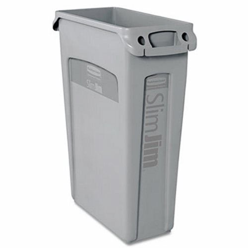 rubbermaid slim jim 23 gallon trash can wvents gray rcp gra - Rubbermaid Garbage Cans