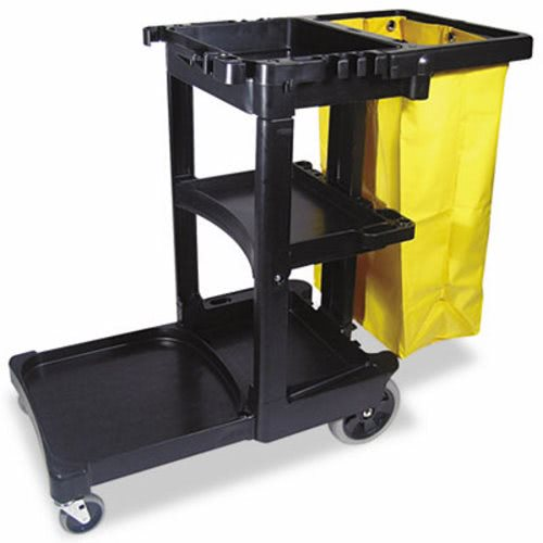 rubbermaid janitor cleaning cart wvinyl bag black rcp bla