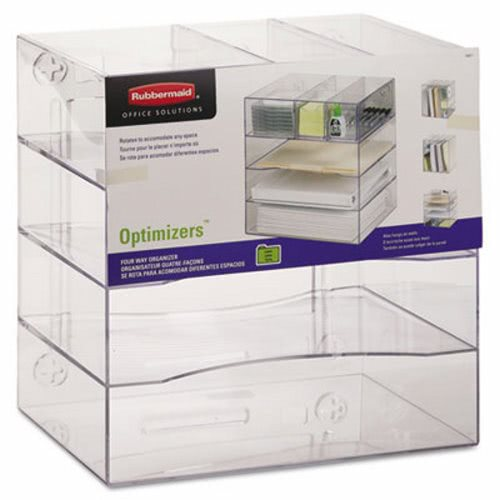 Rubbermaid Optimizers 4 Way Plastic Organizer With Drawers Clear Rub94600ros