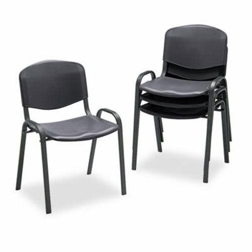 Safco Contour Stacking Chairs, Black W/Black Frame, 4/Carton (SAF4185BL)