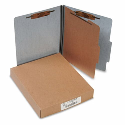 Acco 20-Point Classification Folders, Letter, 4-Section, Gray, 10/Box  (ACC15014)