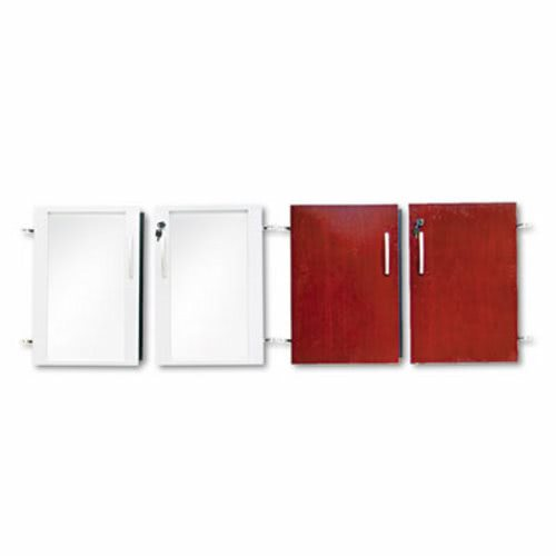 Mayline Doors for Veneer Low Wall Cabinet, Sierra Cherry/Glass, 4 ...