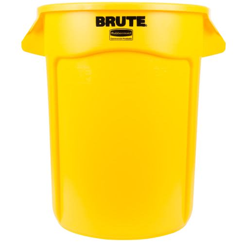 rubbermaid brute 32 gallon round vented waste can yellow rcp yel