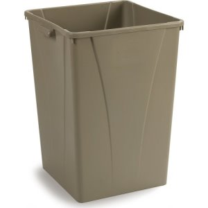Carlisle Centurian 35 Gallon Square Trash Cans, Beige, 4 Cans (34393506)
