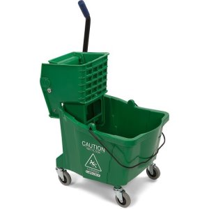 Carlisle 35 Quart Mop Bucket with Side-Press Wringer, Green (3690409)
