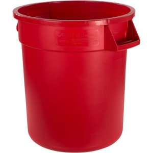 Carlisle Bronco 10 Gallon Round Food & Waste Cans, Red, 6 Cans (34101005)