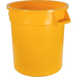Carlisle Bronco 10 Gallon Round Food & Waste Cans, Yellow, 6 Cans (34101004)