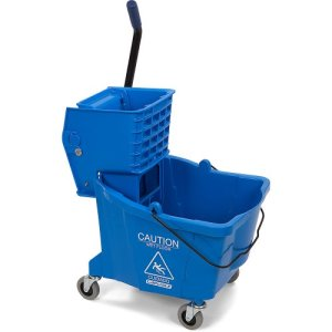 Carlisle 35qt Mop Bucket with Side-Press Wringer, Blue 3690414