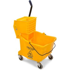 Carlisle 35 Quart Mop Bucket with Side-Press Wringer, Yellow (3690404)
