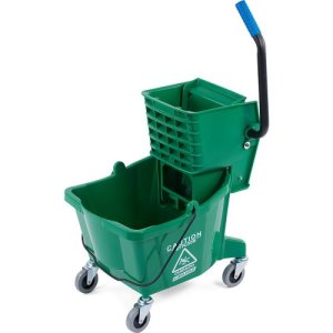 Carlisle 26 Quart Mop Bucket with Side-Press Wringer, Green (3690809)